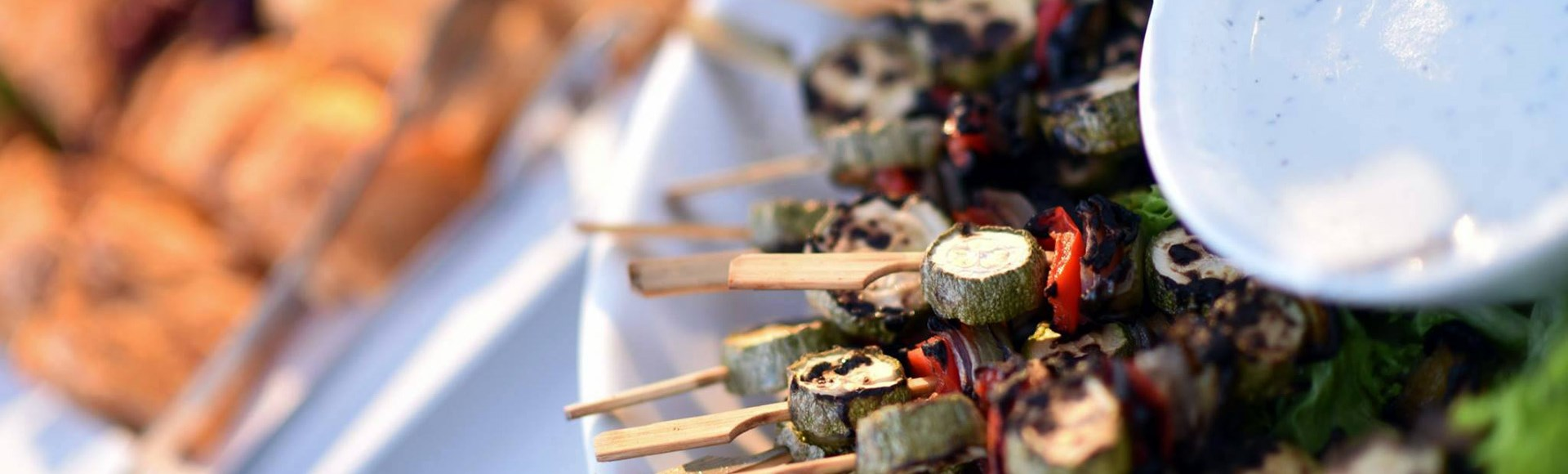 grilled-veggies-on-a-skewer-with-light-yogurt-spread - Private Chef Service For Your Villa Holidays In Santorini, Cyclades, Greece