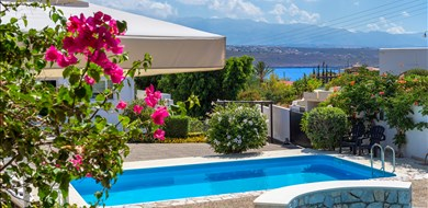 plumeria-villa-tersanas-akrotiri-chania-crete-the-pools-the-sea-and-the-white-mountains-of-crete - Villas with Pools in Crete, Corfu & Paros | Handpicked by Alargo